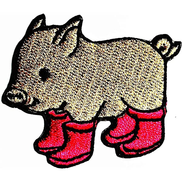 3PCS Pig boar farm livestock With boots animals cartoon patch Applique Clothes