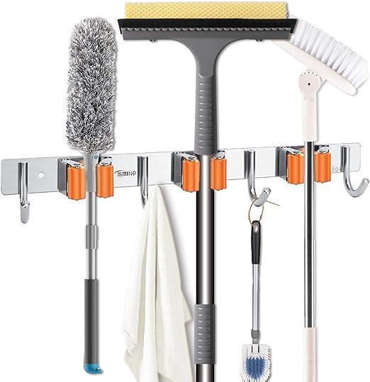 Broom Mop Holder Wall Mount Stainless Steel Rack Tools Organizer Hanger with 3 Slots 4 Hooks for Kitchen Garage Garden Bathroom