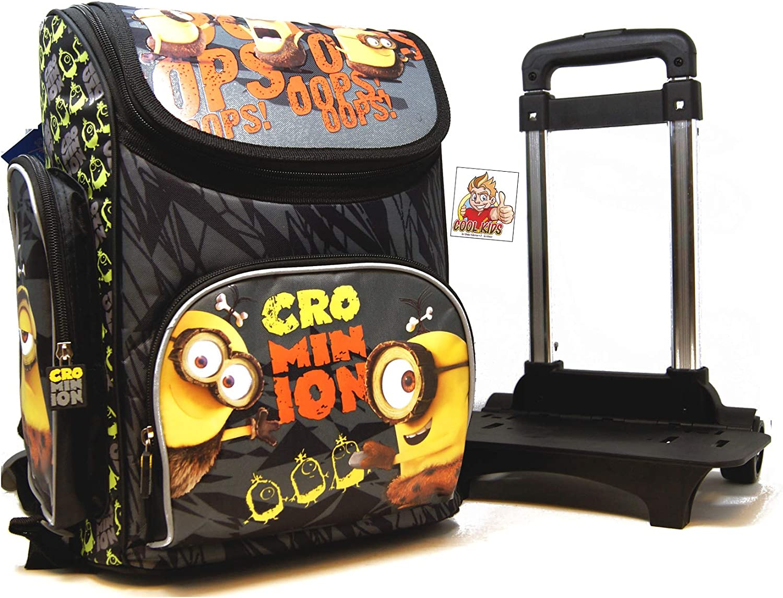 Minions – 2 unidades. Mochila escolar (35,5 x 27,5 x 16 cm) Set con extra Trolley – CRO Minion – Caveman – Diseño: Cro Minions – para escuela, deporte + ocio