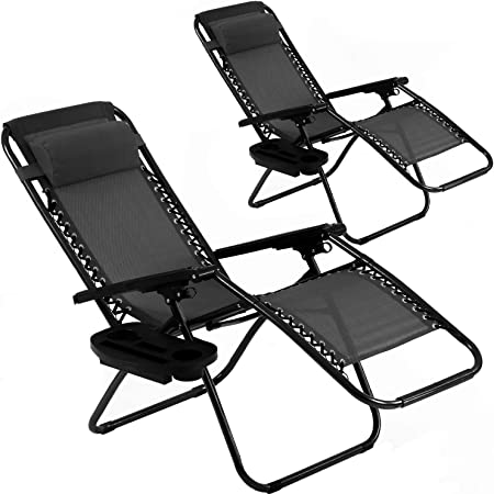 BMS Zero Patio Set of 2 Folding Outdoor Anti Gravity Lounge Reclining Camping Deck Chair with Pillow and Cup Holder (Black)