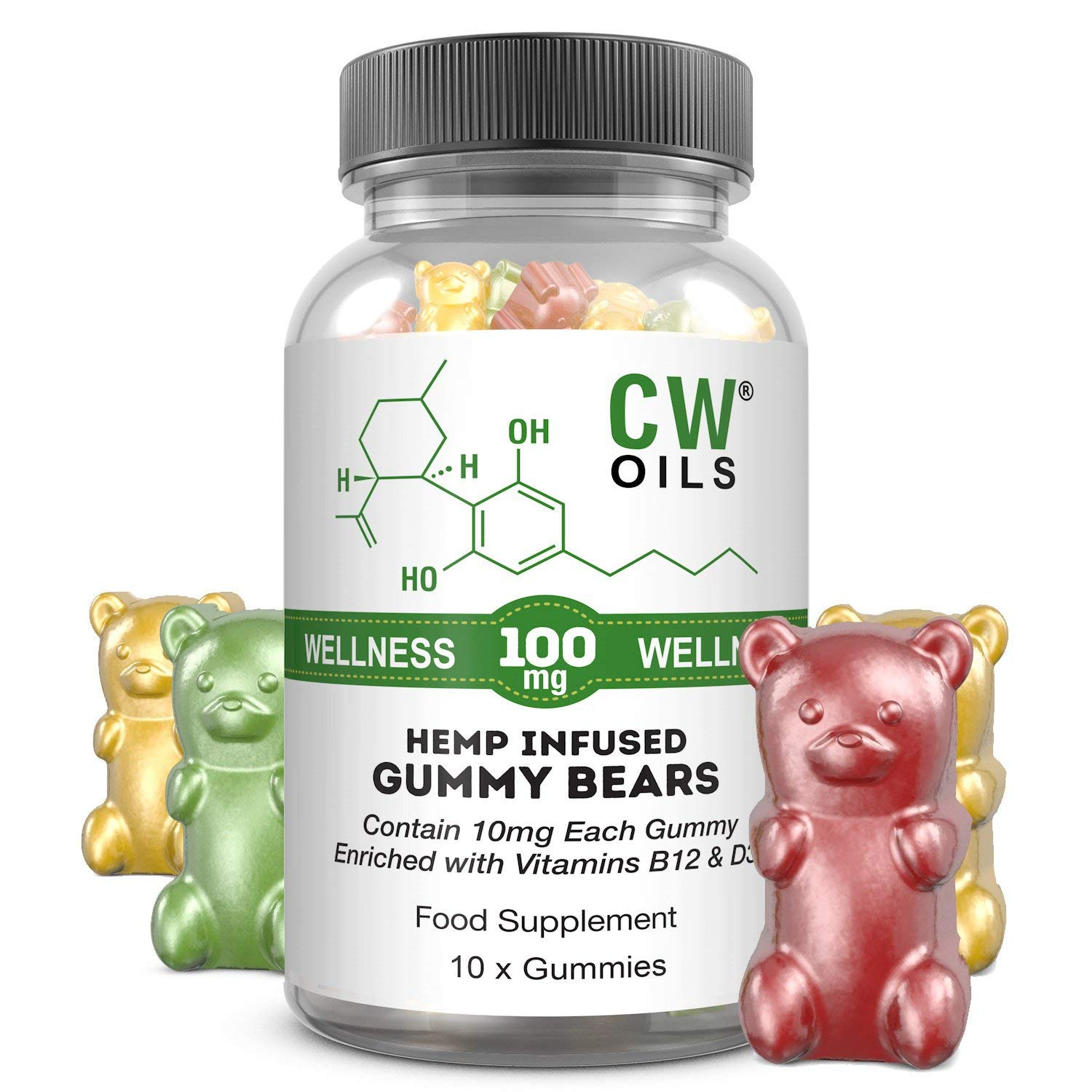 b62e96cf7 CW Oils Hemp Gummies 100mg - 10mg per Bear (for Anxiety