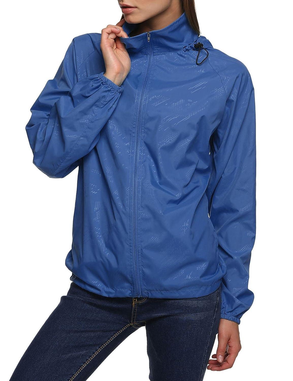Tomasa Damen Funktionsjacke,leichte Regenjacke Wasserdicht Atmungsaktiv /&Sportjacke Windbreaker
