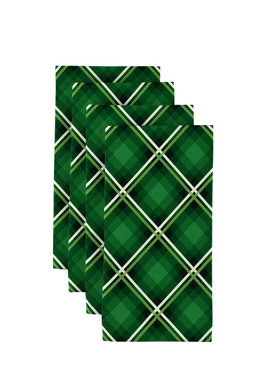 布地製品 聖パトリックの格子縞ナプキン 18インチx18インチ   B07KZMY6PT