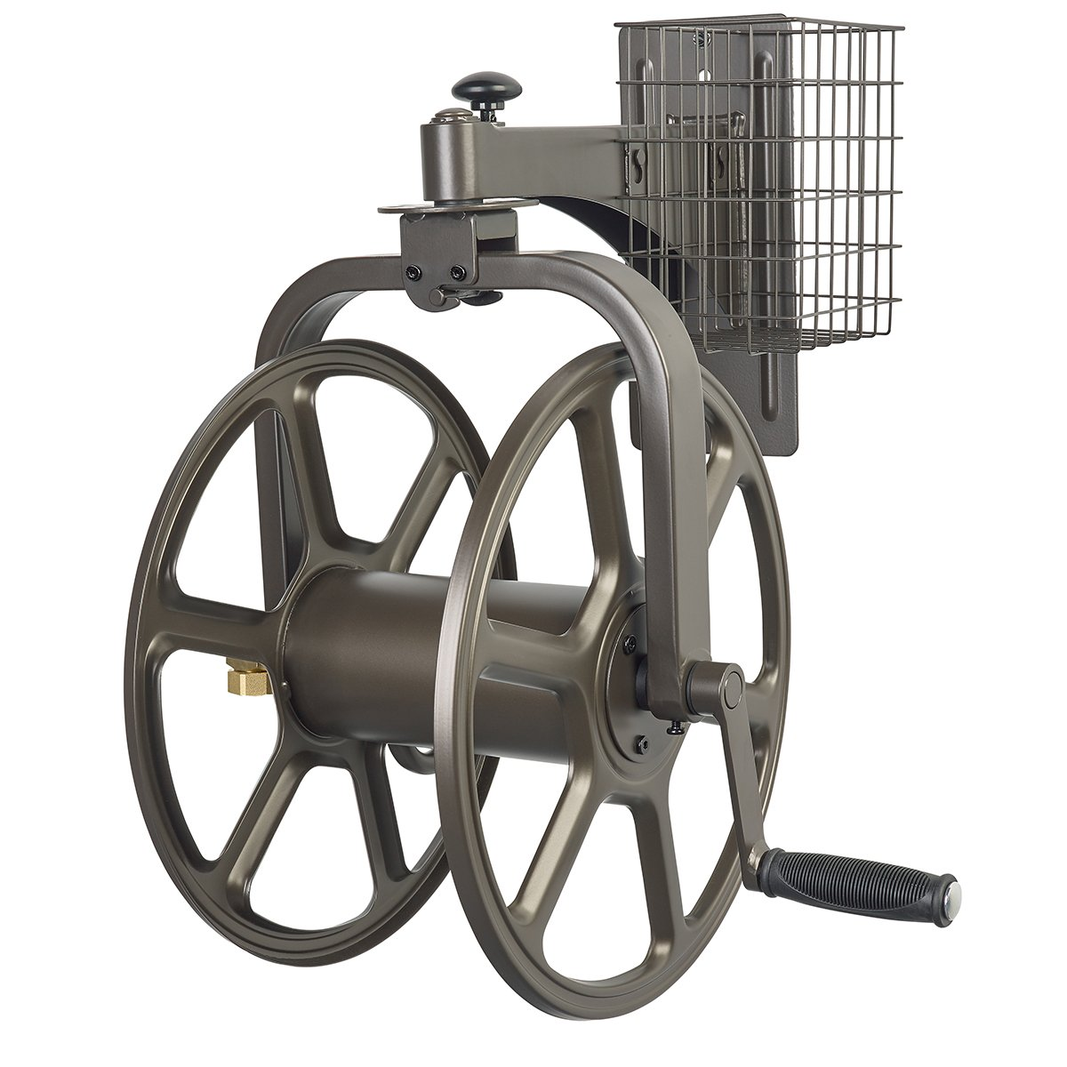 Liberty Garden Products 712 Single Arm Navigator Multi-Directional Garden Hose Reel, Holds 125-Feet of 5/8-Inch Hose - Bronze by Liberty Garden Products