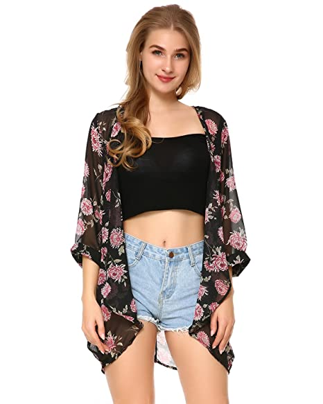 a56a119656 Women's Chiffon Floral Print Casual Loose Sheer Open Front Kimono Cardigan  Capes Beach Cover Up at Amazon Women's Clothing store: