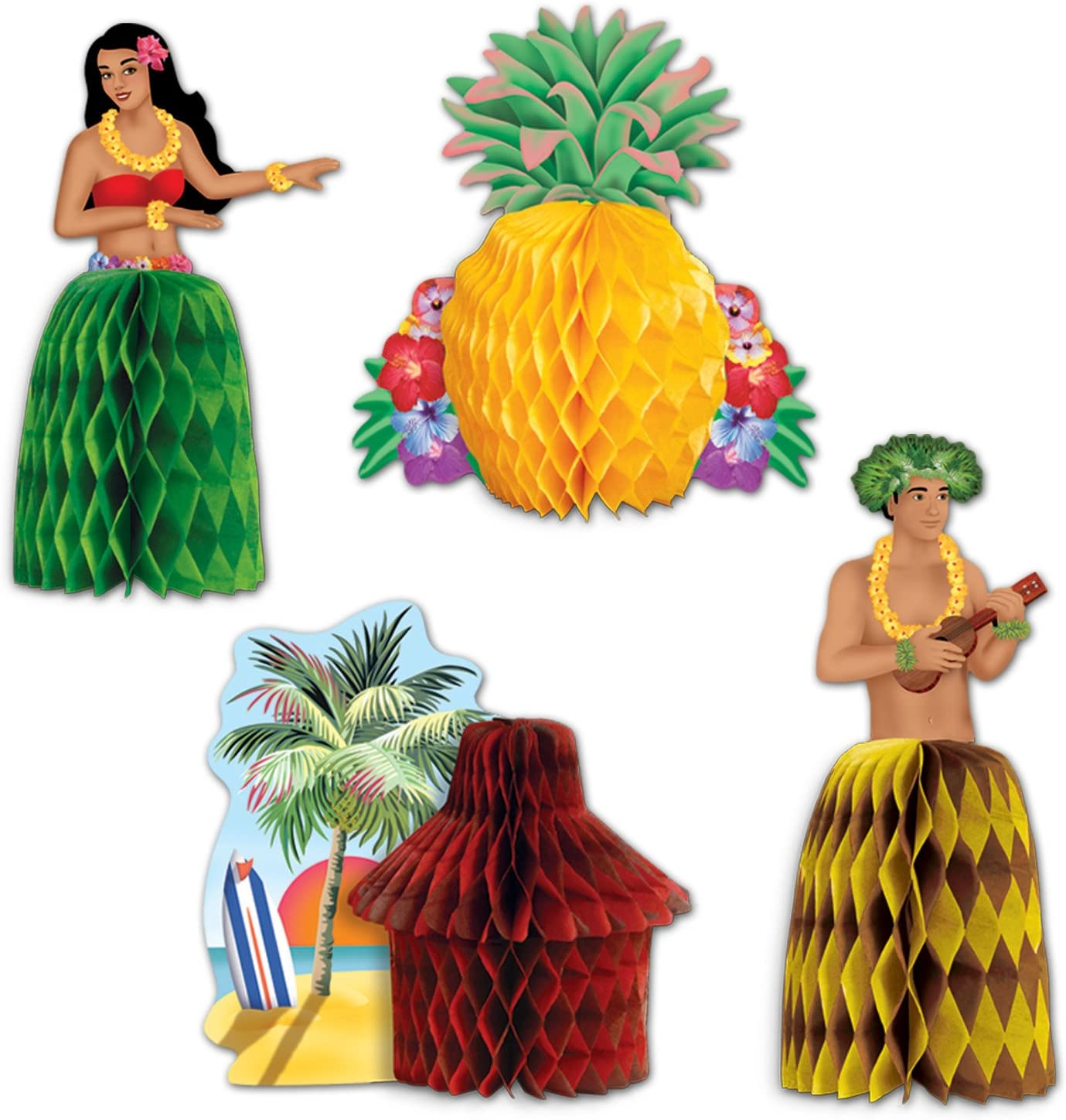 Multicolored Beistle Luau Playmates 4//Pkg One Size
