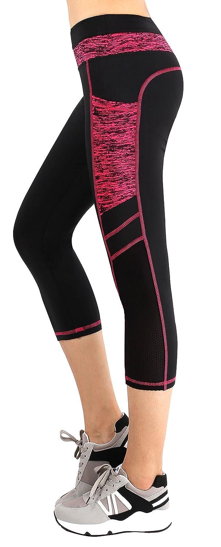Black pink(Capris) Sugar Pocket Women's Workout Leggings Running Tights Yoga Pants Red