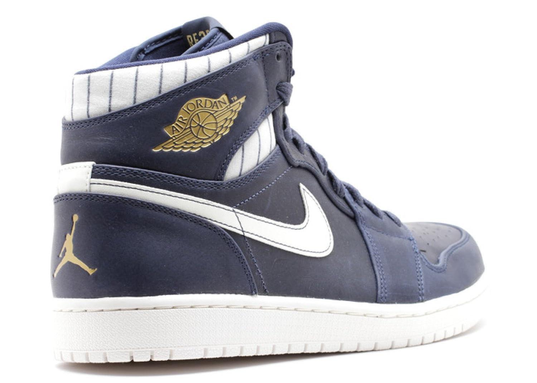 Amazon.com | NIKE Mens Air Jordan 1 Retro High Jeter Midnight/Navy/Metallic  Gold Leather Athletic Sneakers | Running