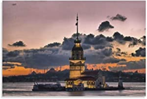 Tamengi Canvas Prints Wall Art Posters, Wall Art Prints 24×36inch, Maiden Tower Istanbul Turkey Prints Wall Decor Canvas Quotes Poster Print Modern Artwork Painting, Unframed/Ready to Frame