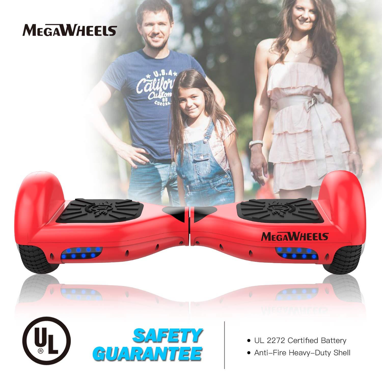 M MEGAWHEELS Scooter-Patinete Eléctrico Hoverboard, 6.5 Pulgadas con Bluetooth - Motor eléctrico 500w, Velocidad 10-12 Km/h. (Red)