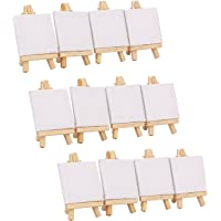 Tosnail 24 Piece Mini Canvas and Easel Set Mini Canvas Panels Mini Wood Easels