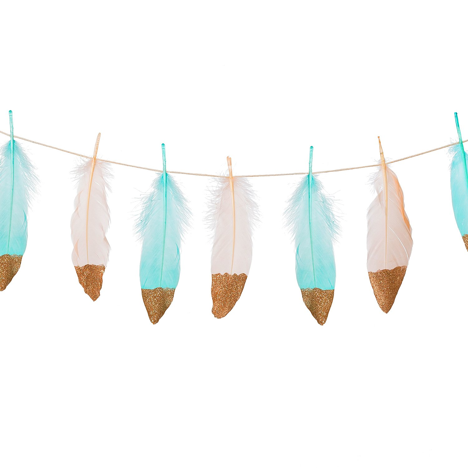 Ling's Moment 10FT Feather Garland Rose Gold Glitter Dipped Soft Peach and Blue Feather Banner for Boho Wedding/Party/Baby Shower/Nursery Decor, Teepee Decorations,