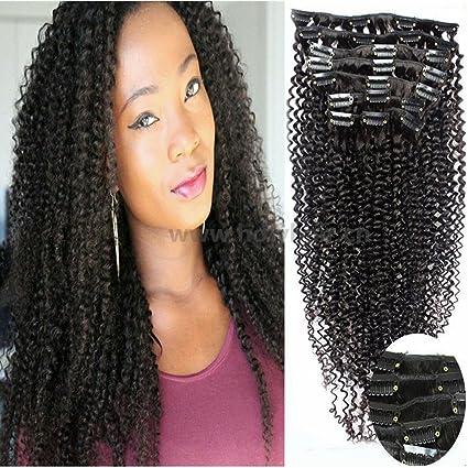 gloryhair 100% pelo humano Afro Kinky rizado clip en extensiones de pelo natural color negro