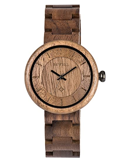 Alienwork Reloj Unisex Relojes Mujer Hombre Madera Sándalo Negro Negro Analógicos Cuarzo Impermeable Madera Natural