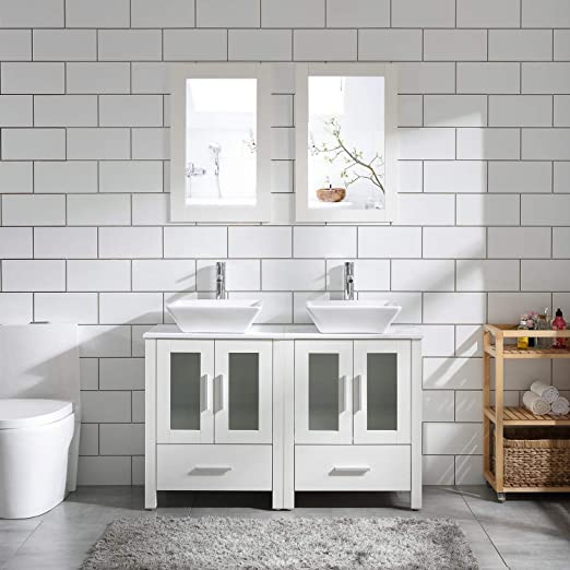 Amazon Com 48 Double Sink Bathroom Vanity Cabinet White Marble Pattern Top W Mirror Faucet Drain Ceramic Sink Kitchen Dining