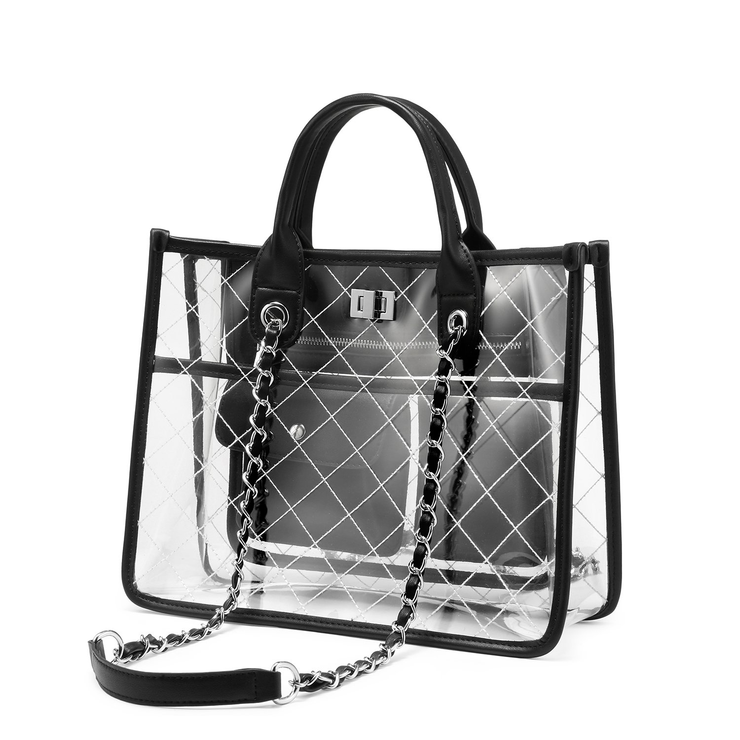 Amazon.com  LOVEVOOK Clear Tote Bag With Turn Lock Closure Girly PVC  Shoulder Bag Black  Shoes 8842f08aabc5a