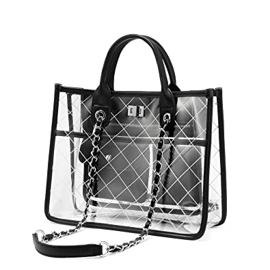Amazon.com  LOVEVOOK Clear Tote Bag With Turn Lock Closure Girly PVC  Shoulder Bag Black  Shoes 250c4b47e4a61