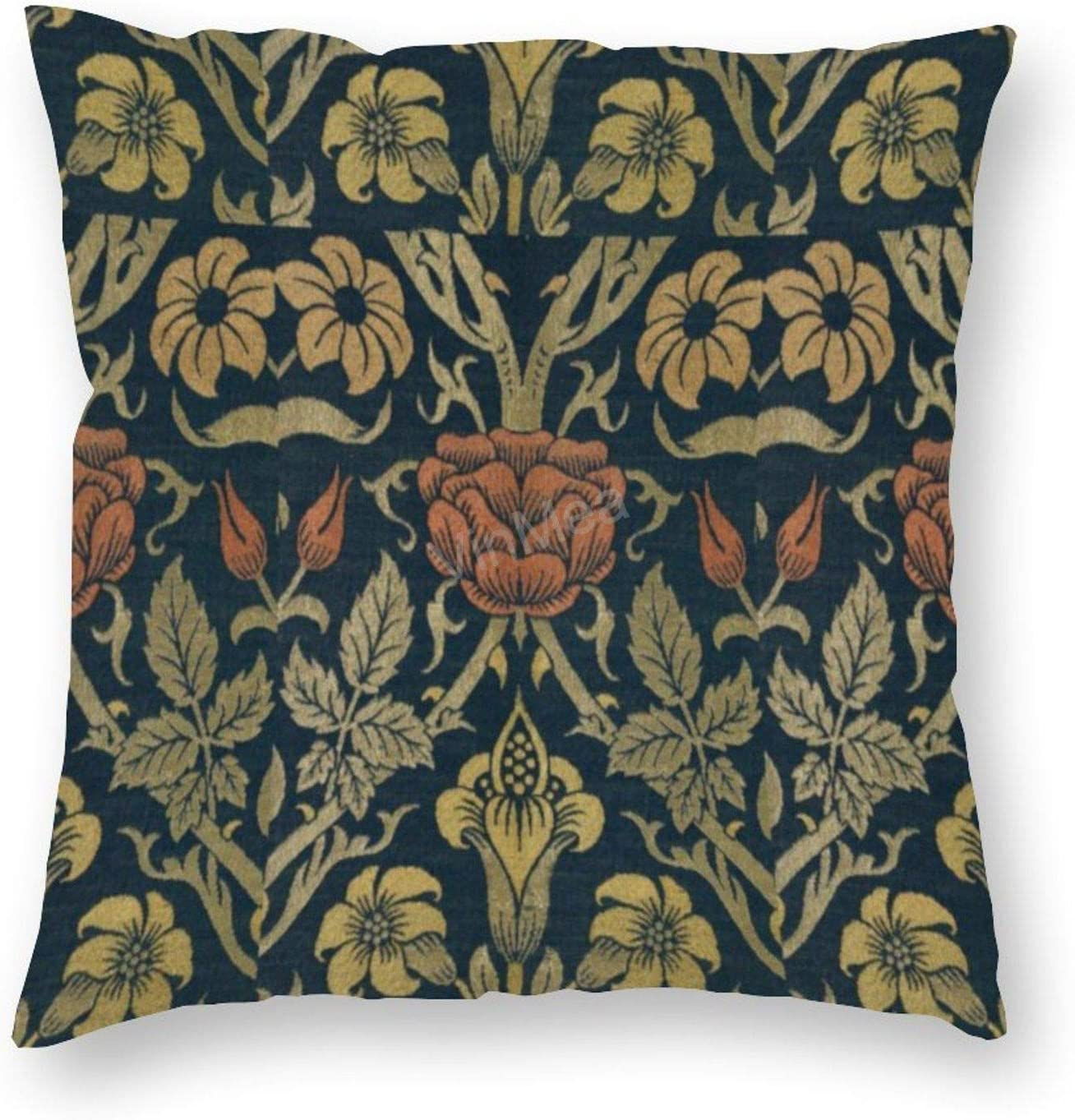 Decorative Pillow Covers Vintage William Morris Rose and Lily Square Soft Luxury Velvet Cushion Covers, 16x16 Inches Pillowcase for Sofa Couch Bed Chair Car Home Decor
