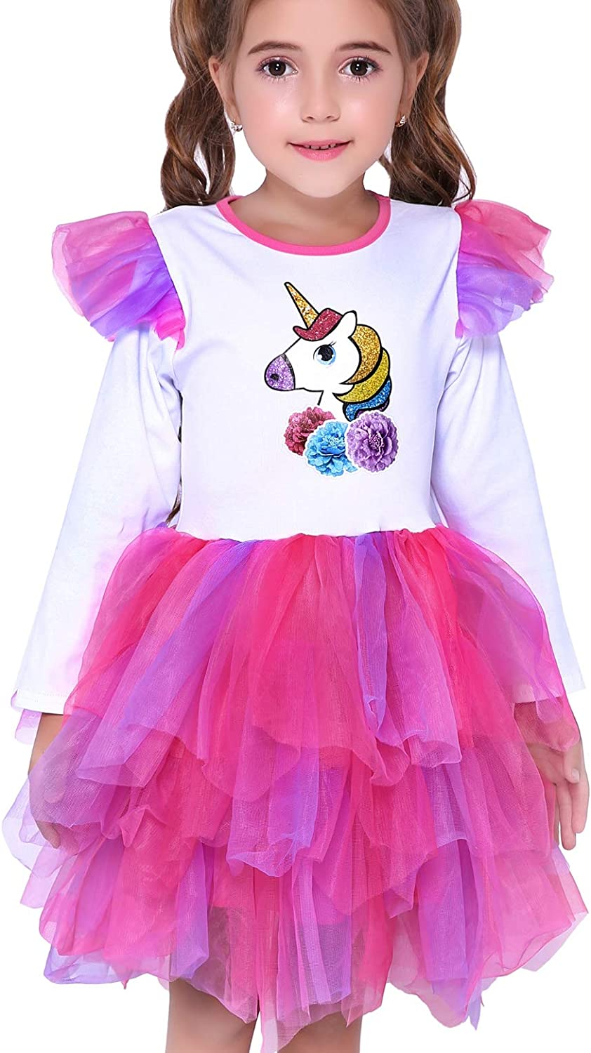 Spring//Autumn Unicorn Birthday Party Princess Girl Dresses Long Sleeve Girls Outfits