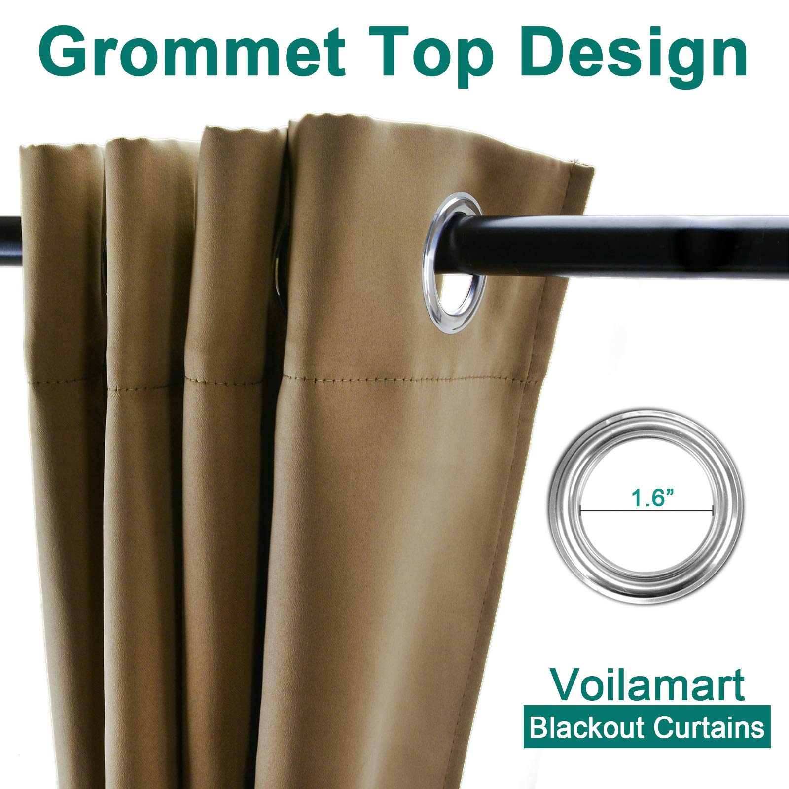 Voilarmart Blackout Curtains 95 x 84 Thermal Insulated Light Reducing Grommet Top Window Curtain for Bedroom, Living Room, 1 Panel - Khaki