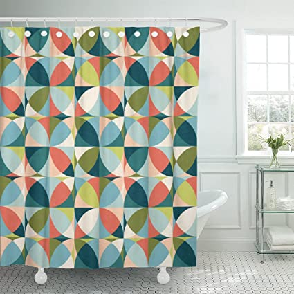 Amazon Emvency Shower Curtain Blue 1950S Abstract Geometric In