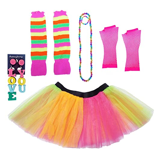 7550d97617a21 Dreamdanceworks 80s Fancy Costume Set - Tutu & Leg Warmers & Fishnet Gloves  & Beads