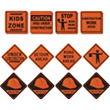 16-Pack Construction Signs - Construction Birthday Party Supplies, Construction Zone Kids Party Decorations, Assorted Designs, 12 x 12 Inches.