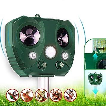 Repelente solar para animales, ultrasónico al aire libre, repelente de plagas en forma de