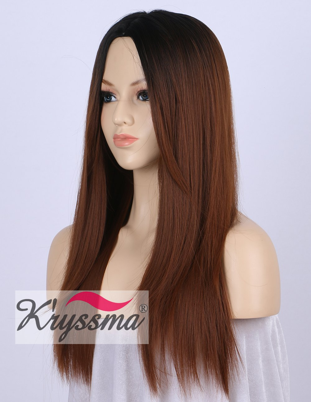 K Ryssma Ombre Synthetic Wigs Brown Natural Looking 2 Tone Black Roots Machine Made Middle Part