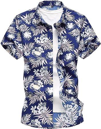 W&TT Camisa de Vestir Floral de los Hombres Slim Fit botón de Manga Corta de Camisas de Playa con Estilo (más tamaño),Blue,L: Amazon.es: Hogar