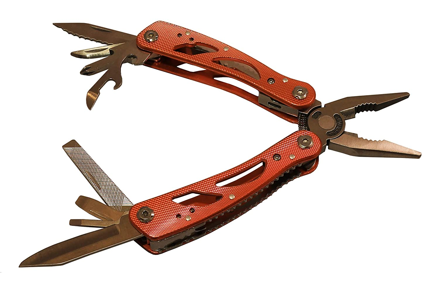 Multitool, heavy duty stainless steel with pliers, 15-in-1 tools and sheath