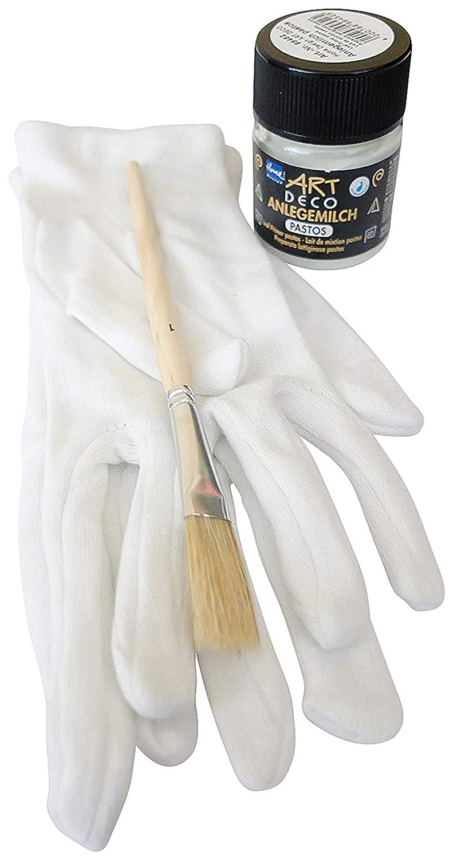 1 x Art Deco Anlegemilch Pastos 50 ml + 1 Paar Vergolderhandschuhe + 1 Pinsel Blattgold-Blattsilber