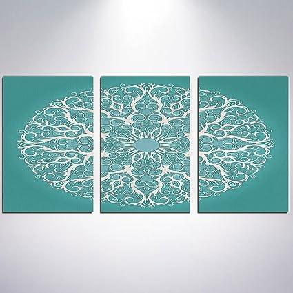 Amazon com: 3 Piece Canvas Wall Art - Turquoise Decor