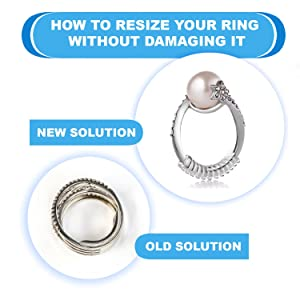 Ring Size Adjuster for Loose Rings - Jewelry Guard, Spacer, Sizer, Fitter - 12 Pack, 2 Sizes - Spiral Silicone Tightener Set with Polishing Cloth (Color: old, Tamaño: 12 Pack)