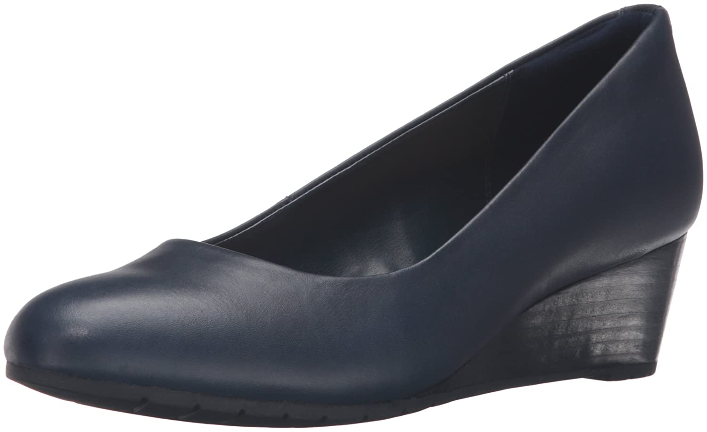 CLARKS Women's Vendra Bloom Wedge Pump B0195EDB84 11 B(M) US|Navy Leather