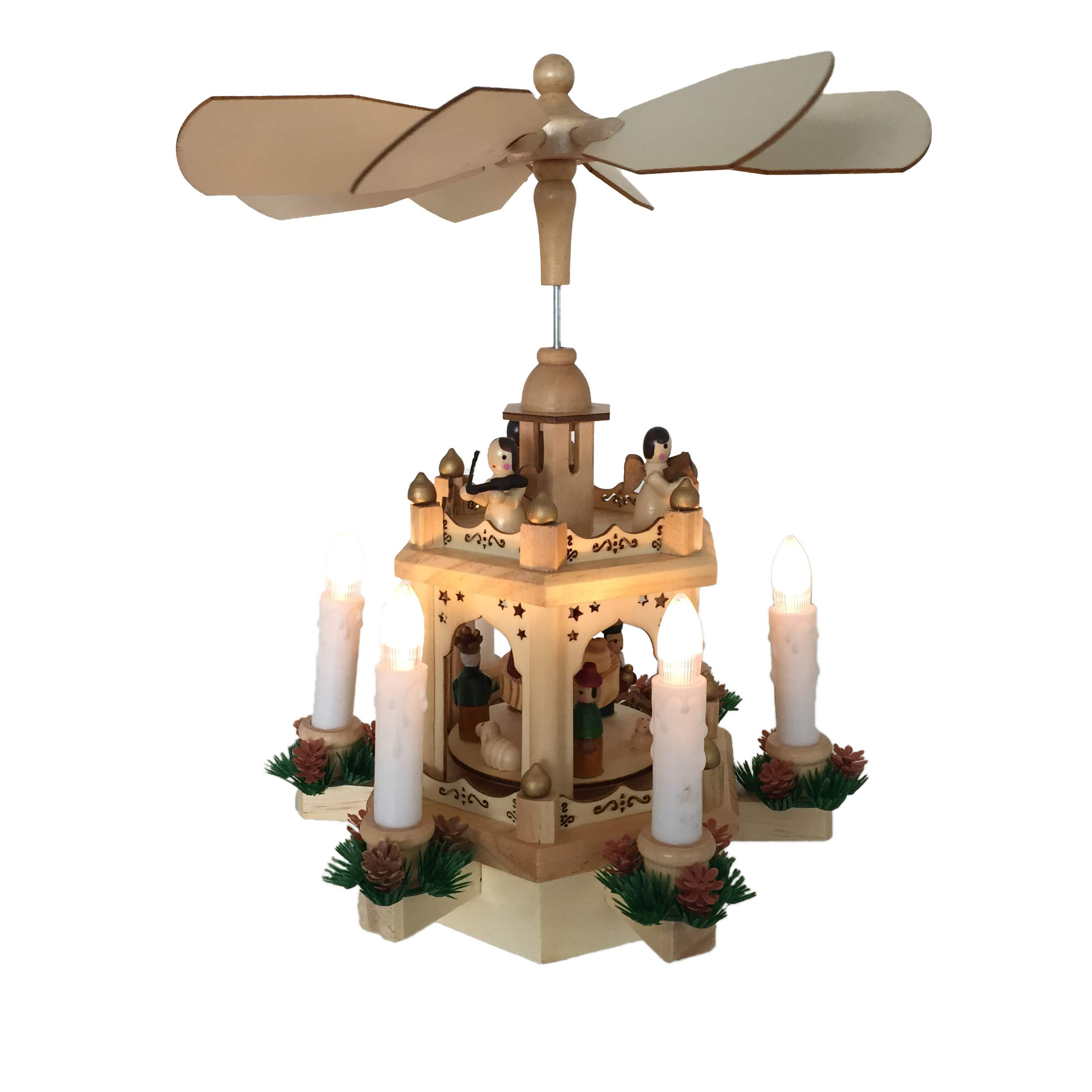 Pioneer-Effort Christmas Decoration Pyramid 11.5Inches - 2 Tier Hand-Painted Nativity Figurines with 6 Candle Led Lights Driving by AAA Batteries
