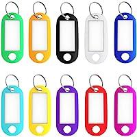 علامات مفاتيح، 50 عبوة من 50 قطعة من بلاستيك صلب لبطاقة الهوية، سلسلة مفاتيح مع حلقة منفصلة وملصق أبيض - 10 ألوان متنوعة