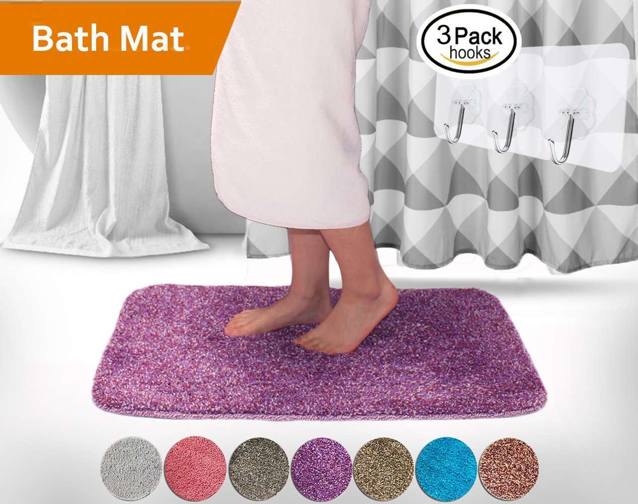 Soft Non slip High Absorbent Bathroom Mats Purple with Red free Wall Hooks 3 Pack