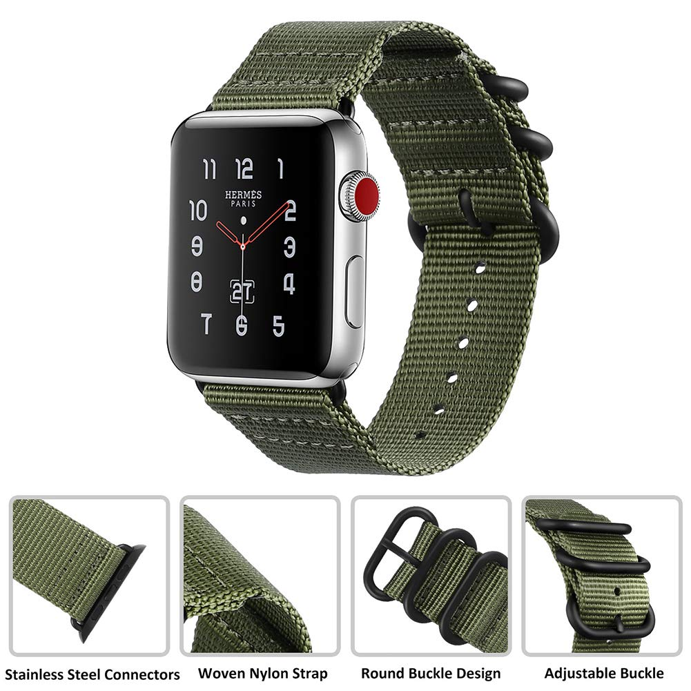 MEBUYZ Sports Band Compatible for Apple Watch Nylon Band 42mm, Nylon Band Replacement Straps Compatible with Apple Watch Series 1/2/3 Apple Watch ...