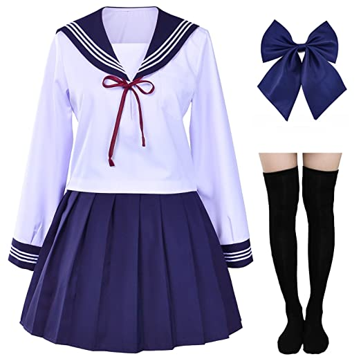 e665d927efcd6 Japanese Sailor School Uniform Costume Anime Cosplay Dress Lolita Suit with  Socks Set(White)