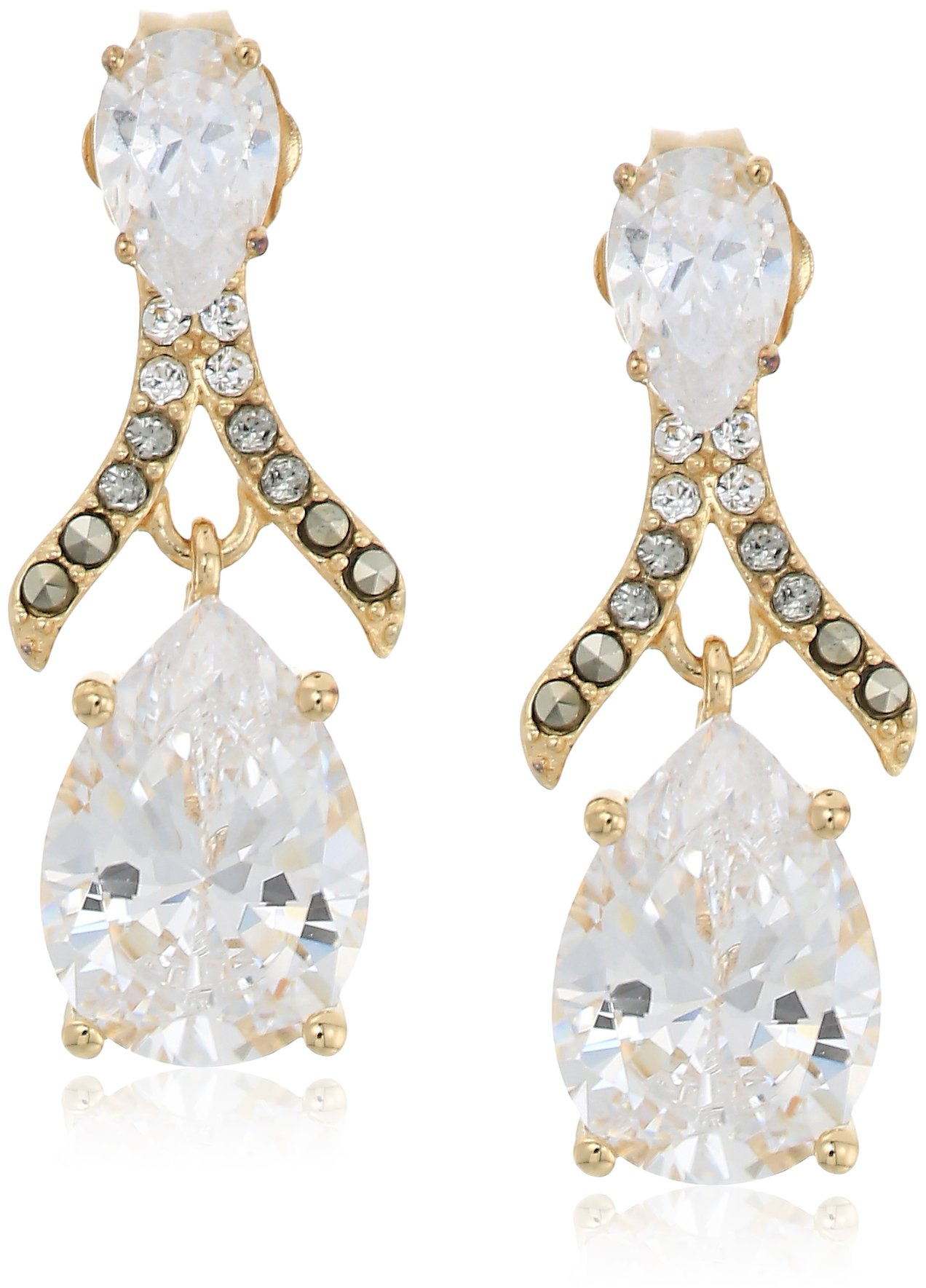 judith jack 10k gold plated sterling silver and swarovski marcasite post drop earrings