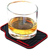ARTORI 4 Black Silicone Absorbent Coasters, Fun Miniature Car Mats Beverage Drink Coasters  For Drinks, Wine Glasses, Whiskey, Beer Cocktail Glasses. For Bar, Home, Office, Cool Unique For Fathers