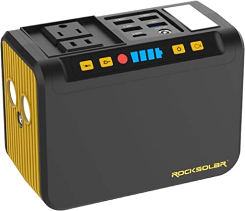 ROCKSOLAR Portable Power Station with LED Flashlight, Lightweight 74Wh Lithium Battery, 80W AC, USB, and DC Output
