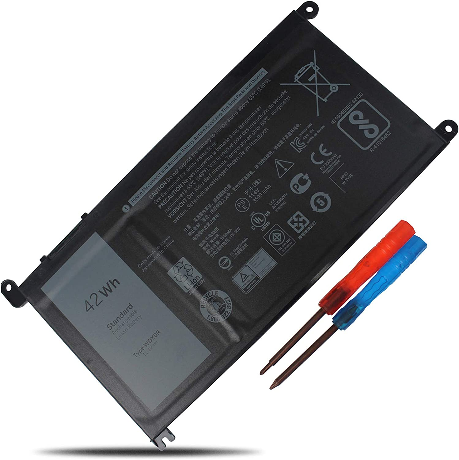 LXHY WDX0R 11.4V 42Wh 3500Mah, Laptop Battery Compatible with Dell Inspiron 15 5567 5568 5578 Inspiron 13 5368 5379 17 5767 5765, Latitude 3180 3189, 3 Cells Replacement CRH3 T2JX4 FC92N PRO-D1708TS