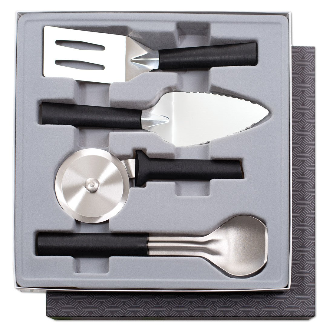 Rada Cutlery 4-Piece Kitchen Utensil Gift Set - Stainless Steel Set With Black Stainless Steel Resin Handles Made in USA