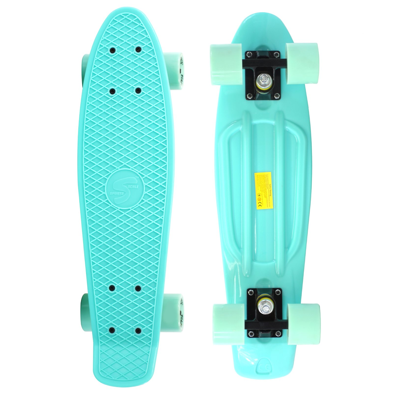 Scale Sports 22'' Skateboard Complete Pastel Street Retro Cruiser Classic Plastic Deck Mint by Scale Sports (Image #1)