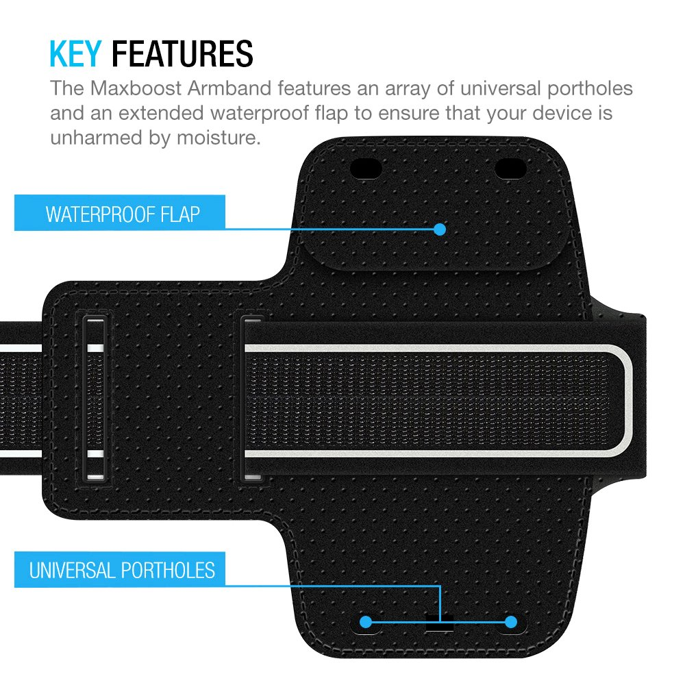 Maxboost Armband [Original+] For Large Phone iPhone 8 Plus, 7 6 6S Plus, X, Galaxy S9 S8 Plus, Note 8 5 2 (Fits Otterbox Defender Lifeproof case) [Water Resistant] Universal Running Pouch Key Holder by Maxboost (Image #6)