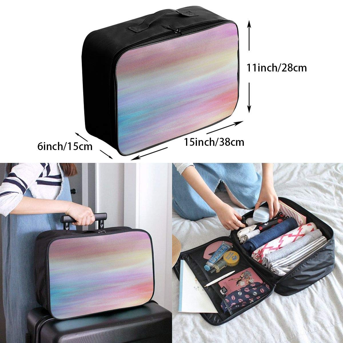 Abstract Watercolor Design Travel Lightweight Waterproof Foldable Storage Carry Luggage Large Capacity Portable Luggage Bag Duffel Bag