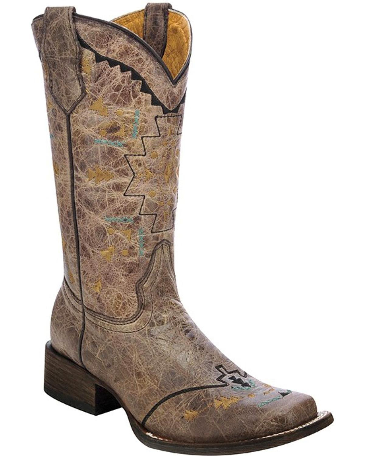 Corral Girls' Aztec Embroidery Cowgirl Boot Square Toe Gold 5.5