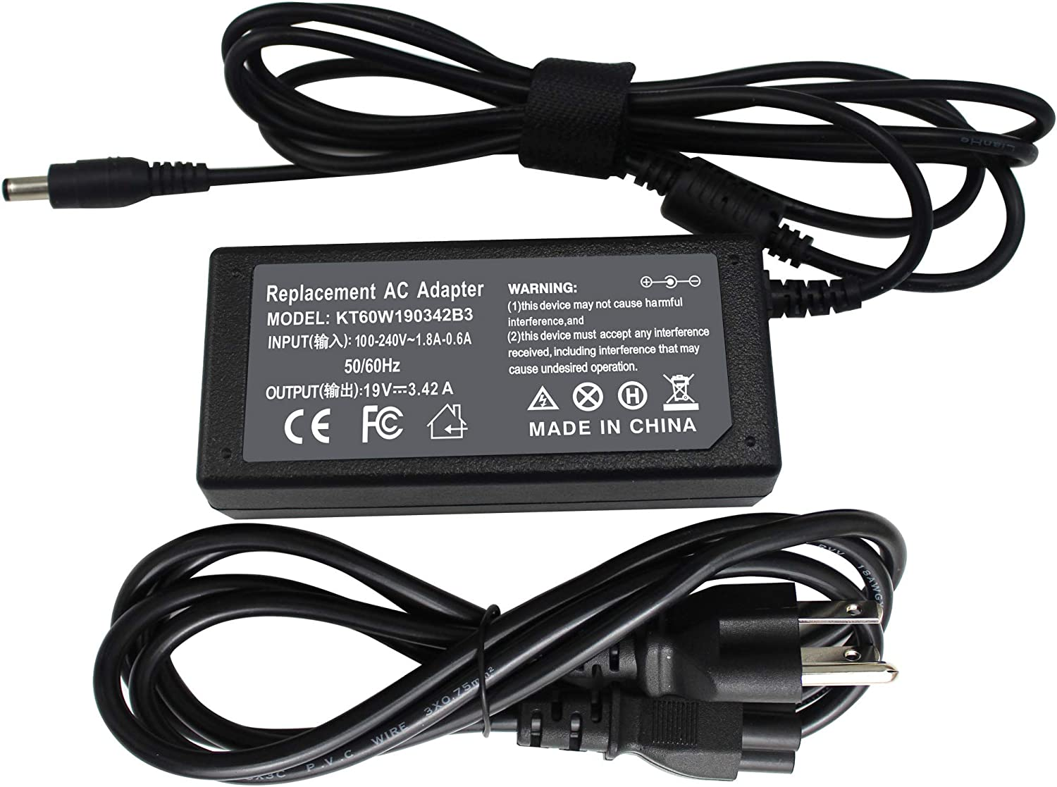 LNOCCIY 19V 3.42A AC Adapter Charger Power Supply Cord for Toshiba pa3714u-1aca pa3467u-1aca pa3917u-1aca Satellite C855-S5107 C855-S5111 C855-S5122 C55-B5300 C55-B5353 C55D-A5108 C55D-A5146